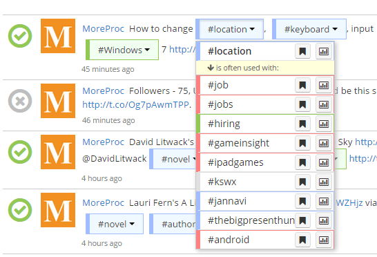 View hashtags suggestions in RiteTag