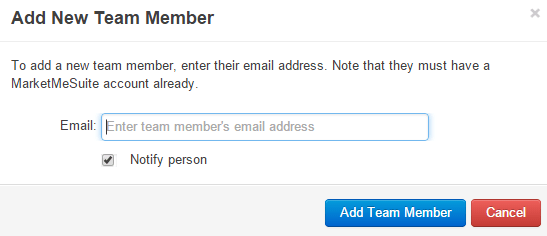 Invite and add team member in MarketMeSuite
