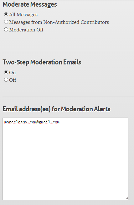 Moderate tweets, enable two step moderation emails in GroupTweet