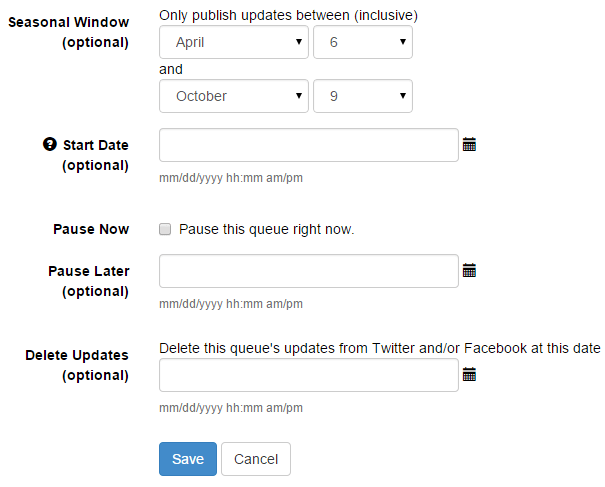 More queue options in SocialOomph
