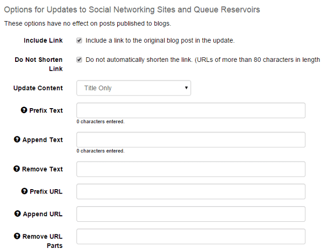 Options for RSS feeds account in SocialOomph