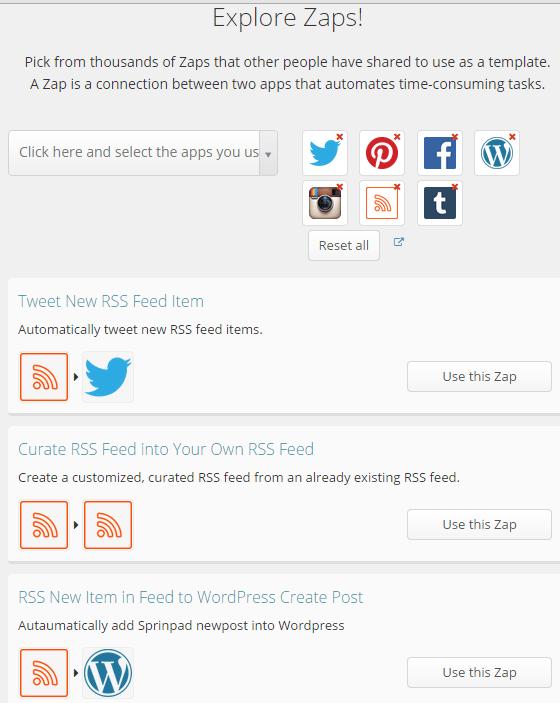 Popular social media zaps in Zapier