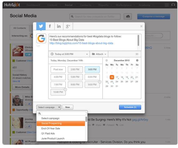 Schedule social media post using HubSpot Social Inbox