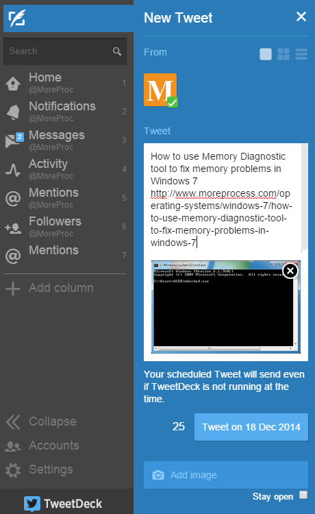 Schedule tweets using TweetDeck