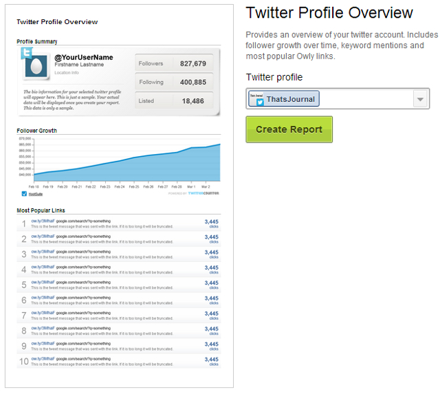 Select Twitter account, click on Create Report in HootSuite