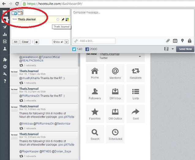 Select social networking account to send message in HootSuite