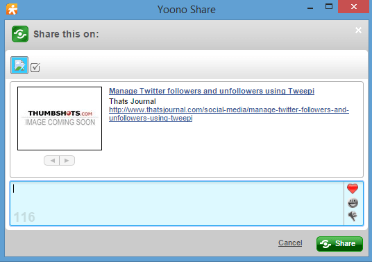 Share page in social media channels using Yoono browser app