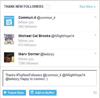 Thank new followers in Commun.it
