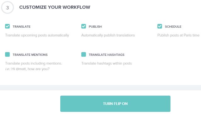 Translation settings in Fliplingo
