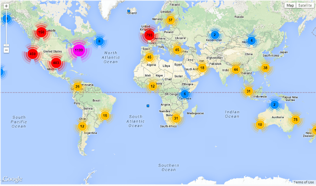 Twitter users you are following in Google map in FollowerWonk
