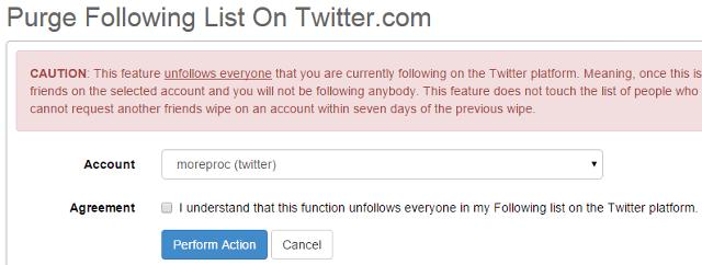 Unfollow all members in Twitter in SocialOomph