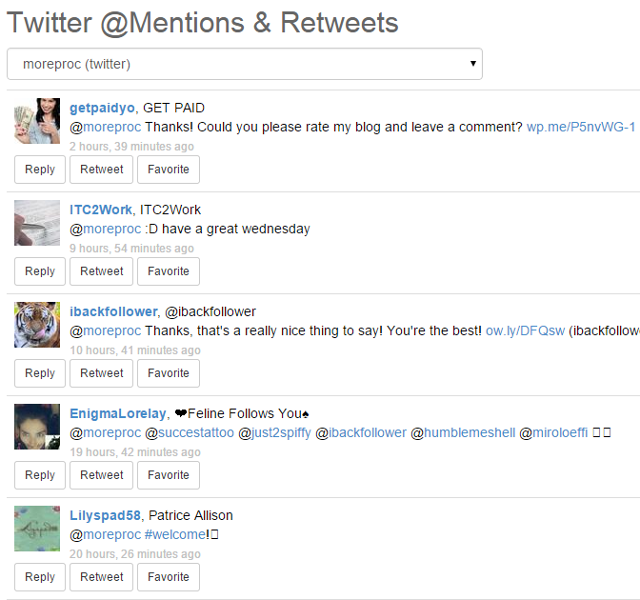 View Twitter mentions and retweets in SocialOomph