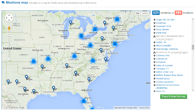 View Twitter mentions in a Google map in Twitonomy