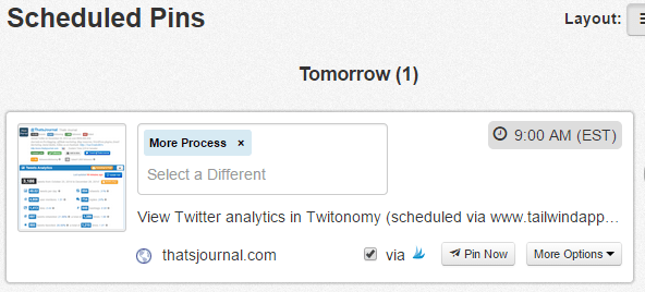 View scheduled pins on Tailwind