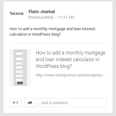WordPress post shared publicly by using Jetpack in Google+