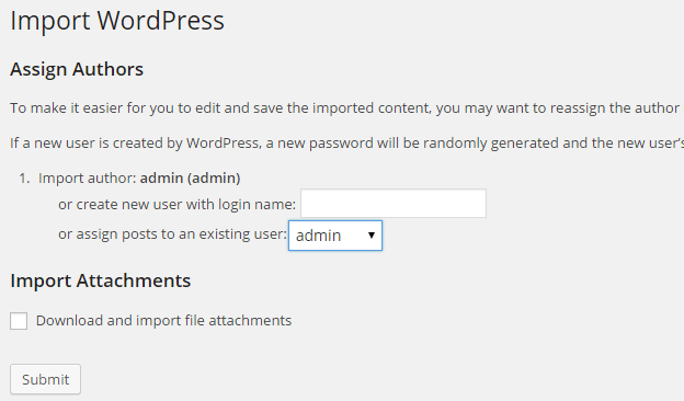 Assign authors for imported content in WordPress blog