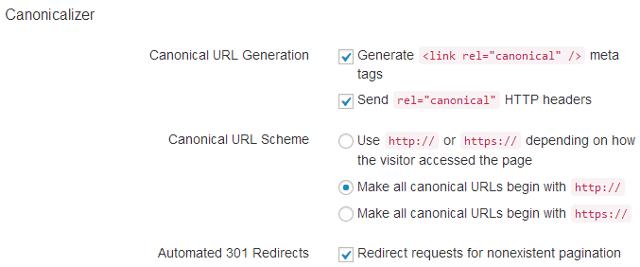 Canonical URL settings in SEO Ultimate WordPress plugin