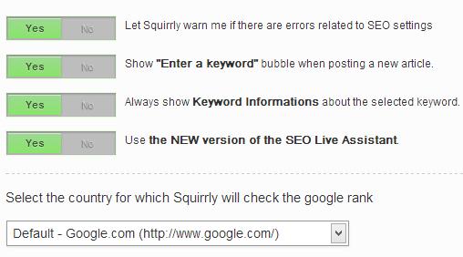 Options in Squirrly SEO WordPress plugin