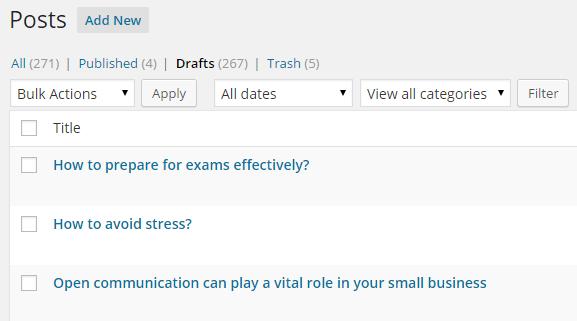 Select Post Status in WordPress