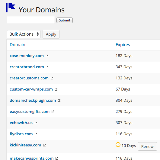 Renew expiring domain names from Domain Check