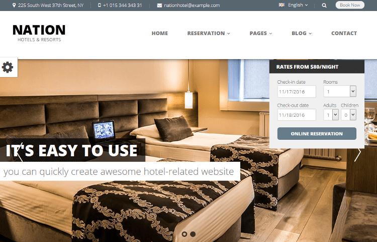 Nation Hotel WordPress Theme