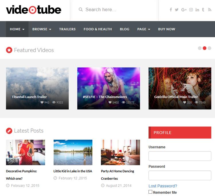 VideoTube WordPress Theme