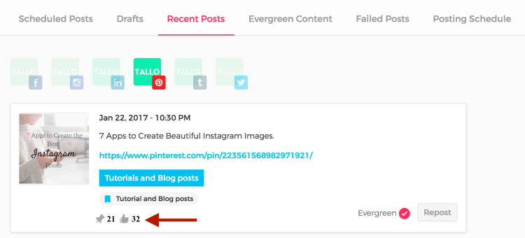 Mark best performing posts as Evergreen under Recent Posts tab