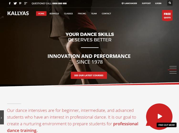 KALLYAS Dance HTML5 Template
