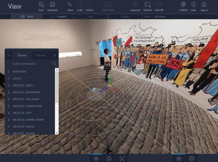 Create and Edit a VR Website by using a Vizor Interface