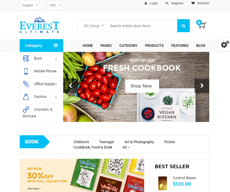 Everest Bookstore Magento Theme