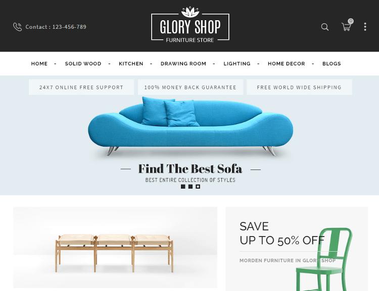 Glory Shop Furniture OpenCart Theme