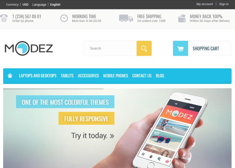 MODEZ Electronics Store PrestaShop Theme
