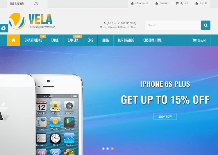 Vela Electronics Store PrestaShop Theme