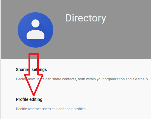 InSettings for Directory page, click on Profile Editing