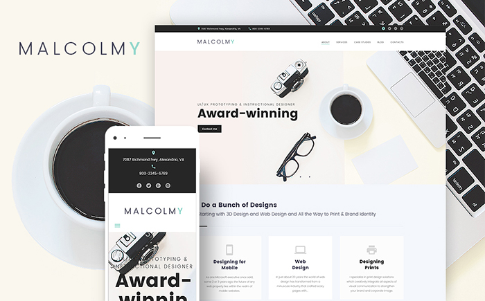 Malcolmy Freelancer Designer Personal Portfolio Lite WordPress Site Theme