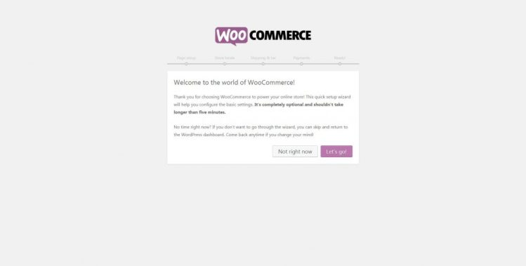 Run setup wizard and click Let's go! in WooCommerce