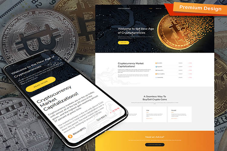Bitcoin Cryptocurrency Premium Template