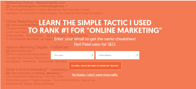 Pop up in Neil Patel's blog