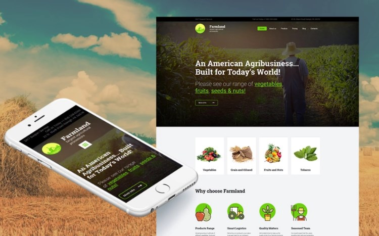 Farming Website Template for Agribusiness