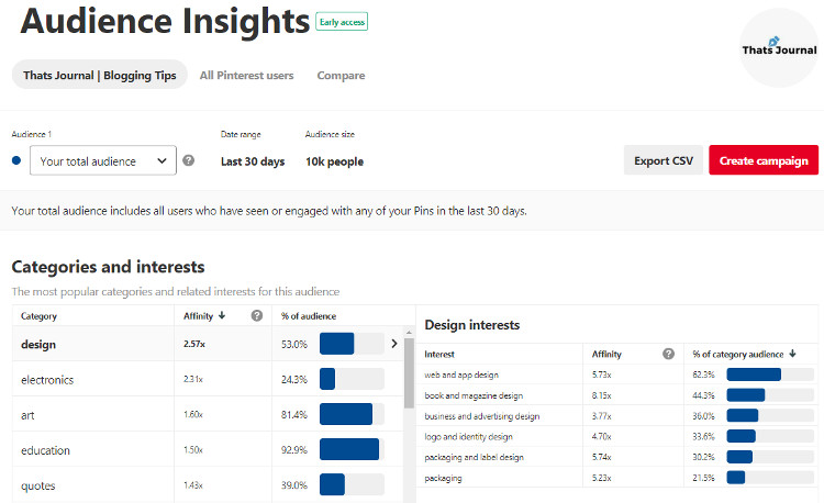 Audience Insights in Pinterest business account