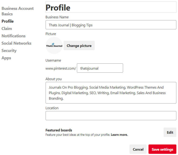 Edit Profile in Pinterest Business Account