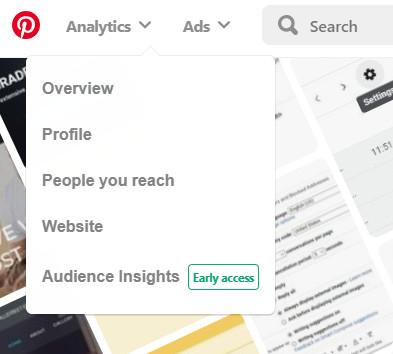 Pinterest analytics in business account