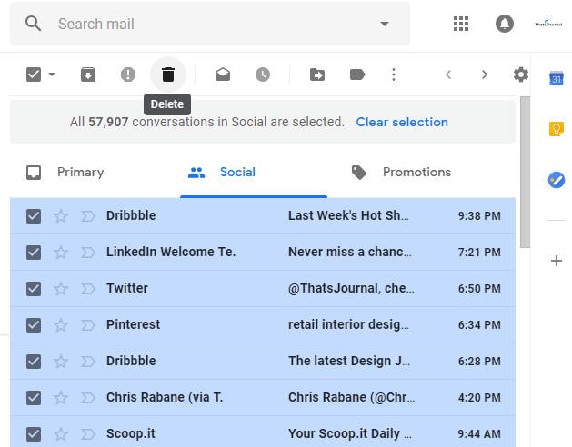 Delete button in Gmail