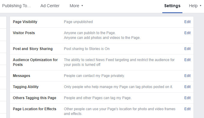 Page Visibility in Facebook Page Unpublished