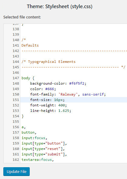 CSS codes in Stylesheet (style.css) file