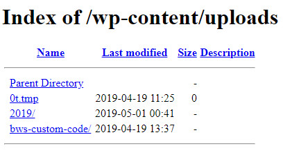 Index of wp-content uploads directory in WordPress
