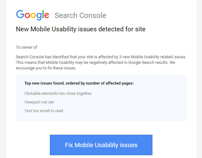 New Mobile Usability issues detected for site in Google Search Console