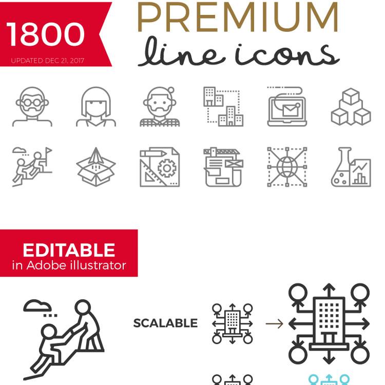 Becris - Premium Line Icons Iconset Template