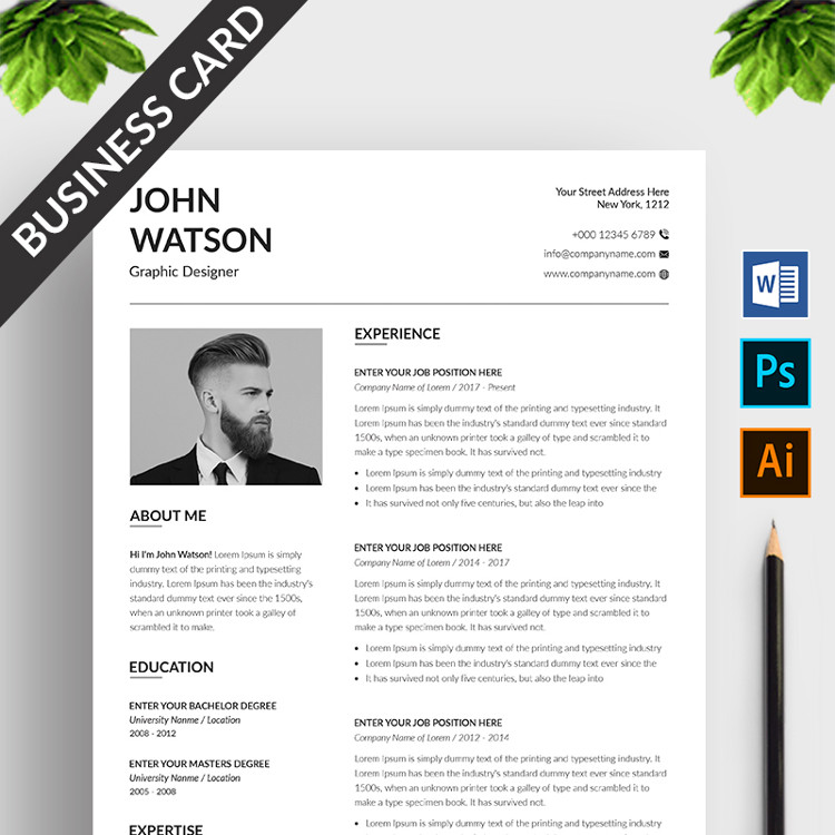 John Watson Resume Template with Business Card