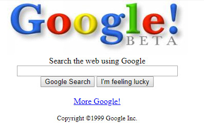 Google homepage 1999